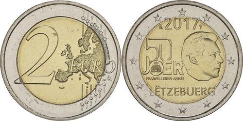 Lieferumfang :Luxemburg : 2 Euro 50 Jahre Freiwilligenarmee in Luxemburg  2017 bfr