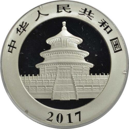 Rückseite:China : 10 Yuan Silberpanda - teilvergoldet  2017 Stgl.