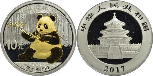 Lieferumfang:China : 10 Yuan Silberpanda - teilvergoldet  2017 Stgl.