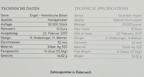 Zertifikat:Österreich : 10 Euro Michael - der Schutzengel  2017 Stgl.