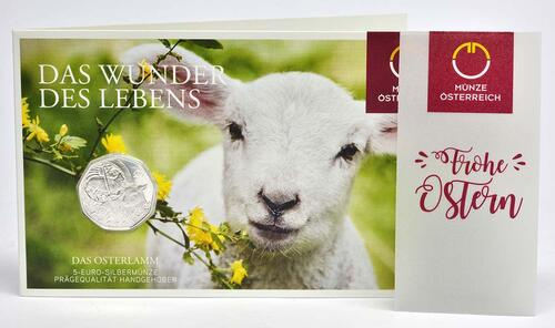 Lieferumfang :Österreich : 5 Euro Osterlamm  2017 Stgl.