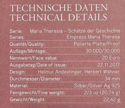 Zertifikat :Österreich : 20 Euro Gerechtigkeit und Härte  2017 PP