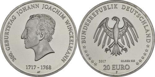 Lieferumfang :Deutschland : 20 Euro 300. Geburtstag Johann Joachim Winckelmann  2017 bfr
