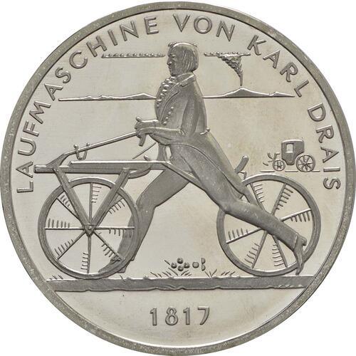 Vorderseite :Deutschland : 20 Euro Laufmaschine von Karl Drais 1817  2017 bfr