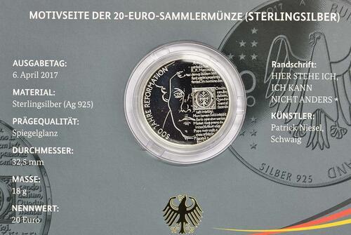 Zertifikat :Deutschland : 20 Euro 500 Jahre Reformation  2017 PP