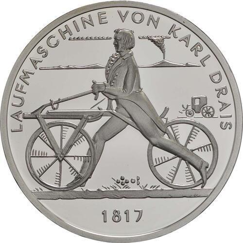 Vorderseite:Deutschland : 20 Euro Laufmaschine von Karl Drais 1817  2017 PP
