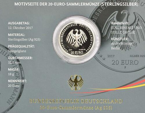 Zertifikat :Deutschland : 20 Euro 300. Geburtstag Johann Joachim Winckelmann  2017 PP