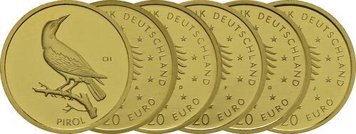 Lieferumfang :Deutschland : 20 Euro Pirol Komplettsatz ADFGJ 5 Müzen  2017 Stgl.