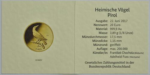 Zertifikat:Deutschland : 20 Euro Pirol Buchstabe unserer Wahl  2017 Stgl.