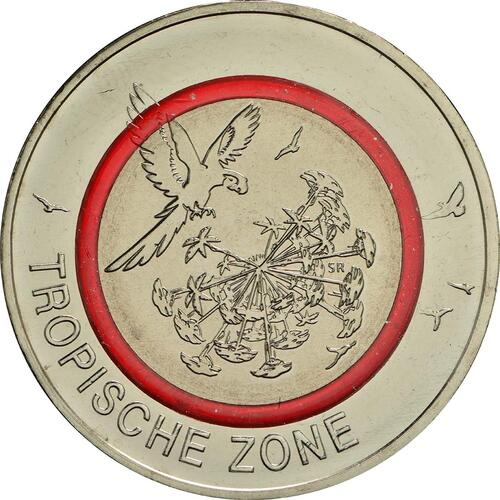 Vorderseite:Deutschland : 5 Euro Tropische Zone  2017 bfr
