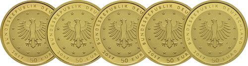 Rückseite:Deutschland : 50 Euro Lutherrose Komplettsatz ADFGJ 5 Münzen  2017 Stgl.