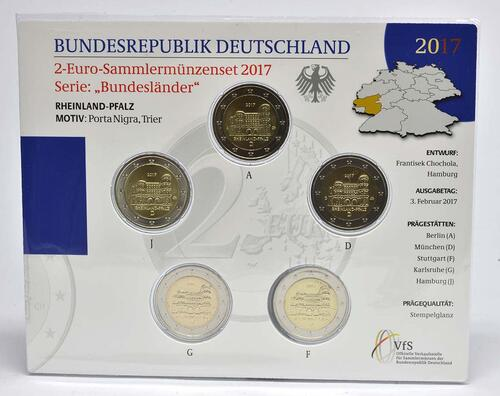 Lieferumfang :Deutschland : 2 Euro Rheinland-Pfalz - Porta Nigra Komplettsatz 5x2 Euro  2017 Stgl.