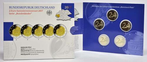 Lieferumfang :Deutschland : 2 Euro Rheinland-Pfalz - Porta Nigra Komplettsatz 5x2 Euro  2017 PP