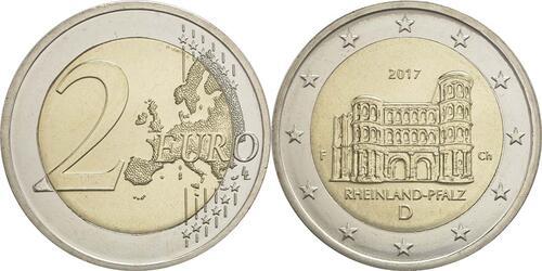 Lieferumfang :Deutschland : 2 Euro Rheinland-Pfalz - Porta Nigra  2017 bfr
