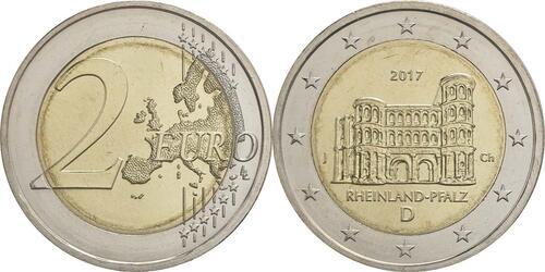 Lieferumfang:Deutschland : 2 Euro Rheinland-Pfalz - Porta Nigra Buchstabe unserer Wahl  2017 bfr