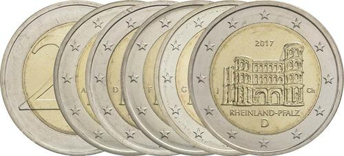Lieferumfang :Deutschland : 2 Euro Rheinland-Pfalz - Porta Nigra Komplettsatz ADFGJ 5 Münzen  2017 bfr