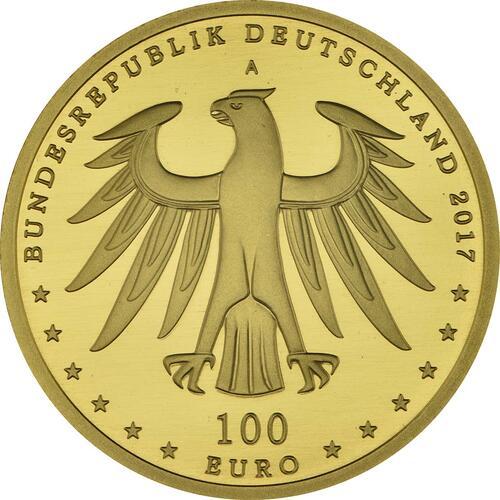 Rückseite:Deutschland : 100 Euro Luthergedenkstätten Eisleben und Wittenberg Komplettsatz ADFGJ 5 Münzen  2017 Stgl.