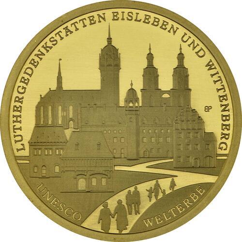 Vorderseite :Deutschland : 100 Euro Luthergedenkstätten Eisleben und Wittenberg Komplettsatz ADFGJ 5 Münzen  2017 Stgl.
