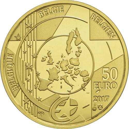 Rückseite:Belgien : 50 Euro Hauptbahnhof von Antwerpen  2017 PP