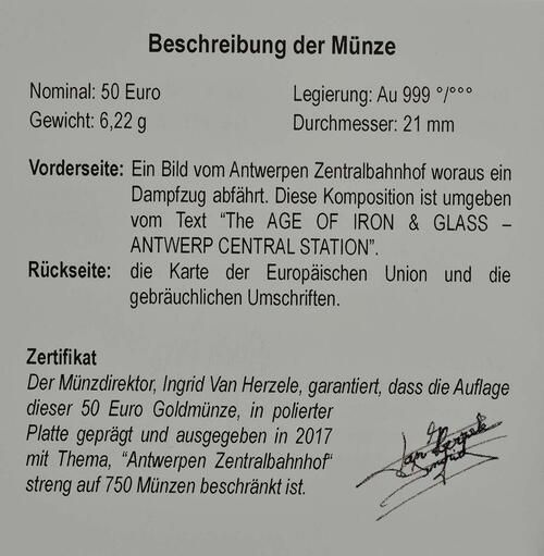 Zertifikat:Belgien : 50 Euro Hauptbahnhof von Antwerpen  2017 PP