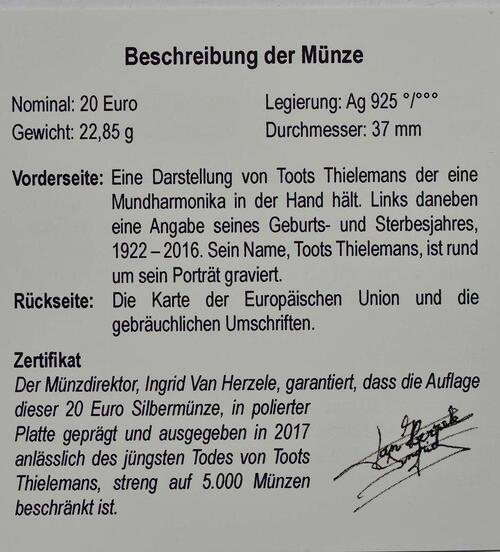 Zertifikat:Belgien : 20 Euro Toots Thielemans  2017 PP