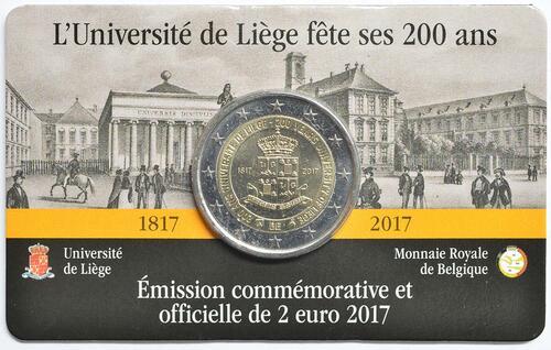 Lieferumfang:Belgien : 2 Euro 200 Jahre Universität zu Lüttich  2017 Stgl.