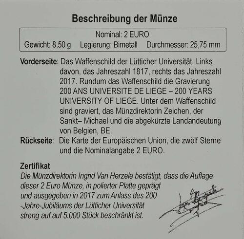Zertifikat:Belgien : 2 Euro 200 Jahre Universität zu Lüttich  2017 PP
