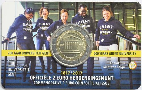 Lieferumfang:Belgien : 2 Euro 200 Jahre Universität zu Gent  2017 Stgl.