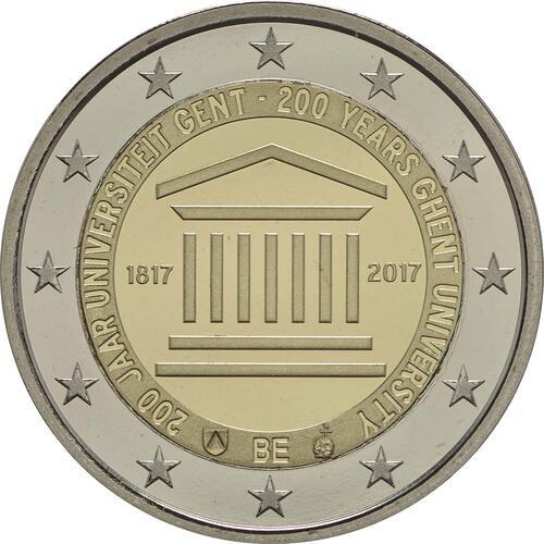 Rückseite:Belgien : 2 Euro 200 Jahre Universität zu Gent  2017 PP