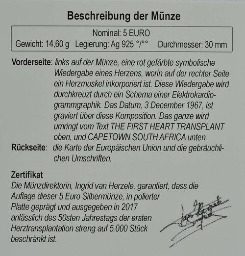 Zertifikat :Belgien : 5 Euro 50 Jahre erste Herztransplantation  2017 PP