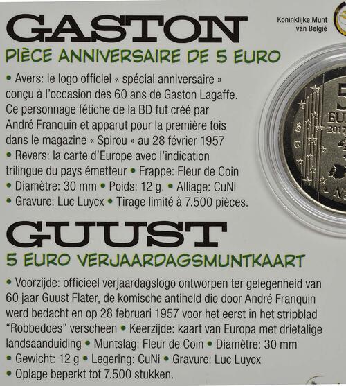 Zertifikat:Belgien : 5 Euro 60 Jahre Guust Flater / Gaston Lagaffe  2017 bfr