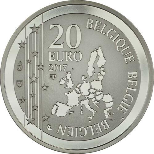 Rückseite:Belgien : 20 Euro 200. Geburtstag von Joseph Poelaert  2017 PP