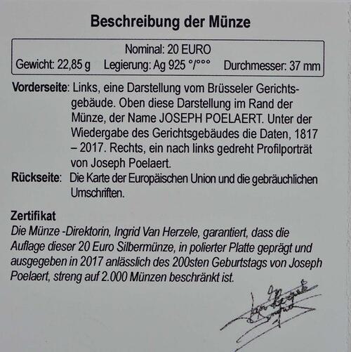 Zertifikat :Belgien : 20 Euro 200. Geburtstag von Joseph Poelaert  2017 PP