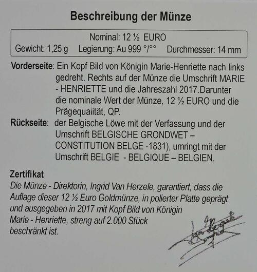 Zertifikat :Belgien : 12,5 Euro Königin Marie - Hendrika  2017 Stgl.