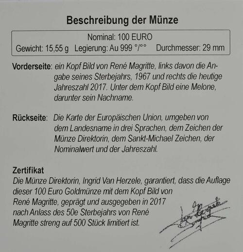 Zertifikat :Belgien : 100 Euro 50. Todestag von René Margritte  2017 PP