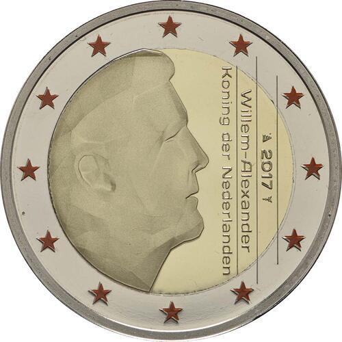 Rückseite :Niederlande : 5,88 Euro KMS Niederlande mit 2 Euro coloriert  2017 PP