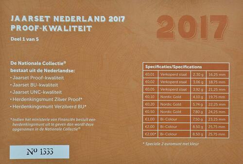 Zertifikat :Niederlande : 5,88 Euro KMS Niederlande mit 2 Euro coloriert  2017 PP