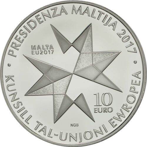 Vorderseite:Malta : 10 Euro EU-Präsidentschaft  2017 PP
