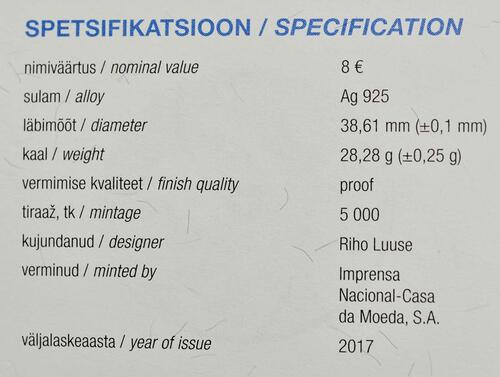 Zertifikat:Estland : 8 Euro Hansestadt Tallinn  2017 PP