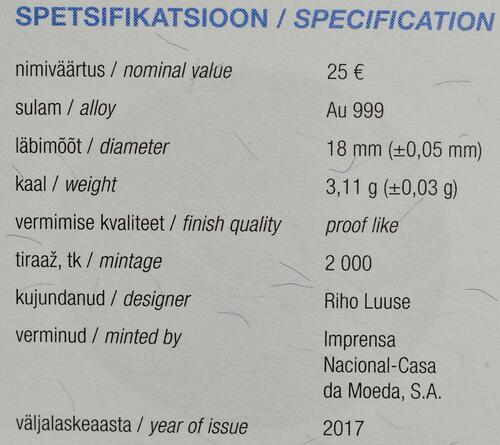 Zertifikat:Estland : 25 Euro Hansestadt Tallinn  2017 PP