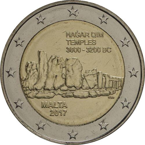 Rückseite:Malta : 2 Euro Hagar Qim  2017 bfr