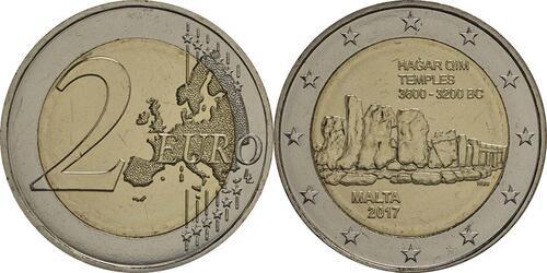 Lieferumfang :Malta : 2 Euro Hagar Qim  2017 bfr