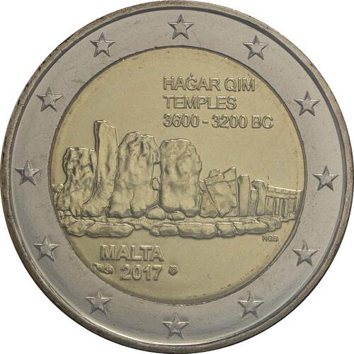 Rückseite:Malta : 2 Euro Hagar Qim  2017 Stgl.