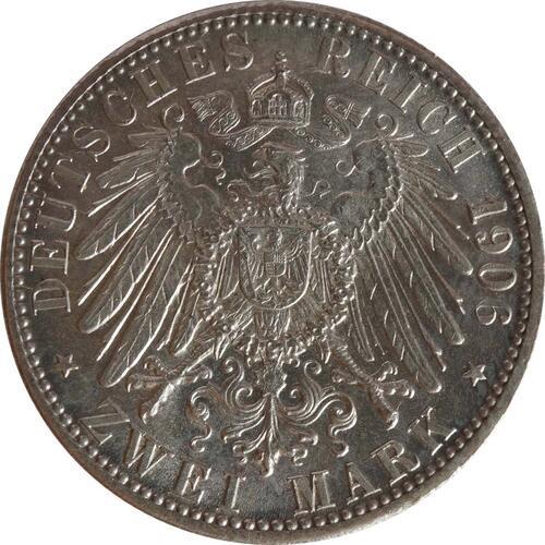 Rückseite :Deutschland : 2 Mark Friedrich u. Luise  1906 vz/Stgl.