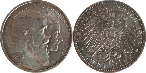 Lieferumfang :Deutschland : 2 Mark Friedrich u. Luise  1906 vz/Stgl.