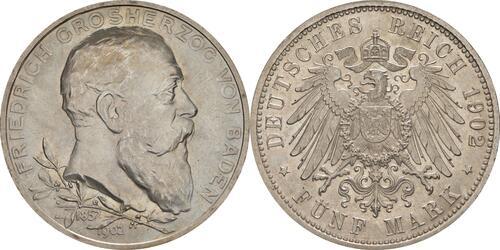 Lieferumfang :Deutschland : 5 Mark Friedrich I. -fein- 1902 Stgl.