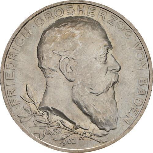 Vorderseite :Deutschland : 5 Mark Friedrich I. -fein- 1902 Stgl.