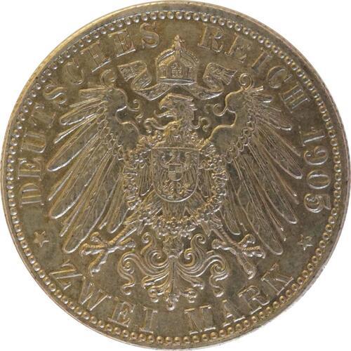 Rückseite:Deutschland : 2 Mark Friedrich I.  1905 ss/vz.