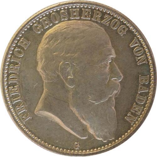 Vorderseite:Deutschland : 2 Mark Friedrich I.  1905 ss/vz.