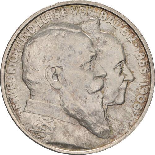 Vorderseite:Deutschland : 2 Mark Friedrich u. Luise patina 1906 Stgl.